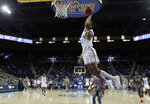 UCLA guard Jaylen Hands (4) goes up for a dunk against Utah during the first half of an NCAA college basketball game Saturday, Feb. 9, 2019, in Los Angeles. (AP Photo/Marcio Jose Sanchez)