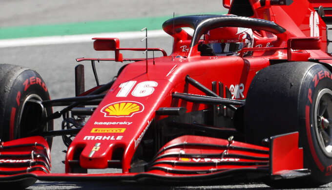 Ferrari driver Charles Leclerc of Monaco steers his car during the Austrian Formula One Grand Prix at the Red Bull Ring racetrack in Spielberg, Austria, Sunday, July 5, 2020. (AP Photo/Darko Bandic)