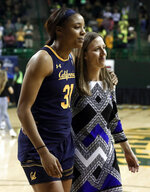 California center Kristine Anigwe (31) and head coach Lindsay Gottlieb, right, walk off the court after their second-round game against Baylor in the NCAA women's college basketball tournament in Waco, Texas, Monday, March 25, 2019. (AP Photo/Tony Gutierrez)