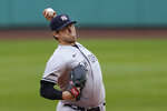 New York Yankees starting pitcher Jordan Montgomery delivers to a Boston Red Sox batter during the first inning of a baseball game at Fenway Park, Thursday, July 22, 2021, in Boston. (AP Photo/Elise Amendola)