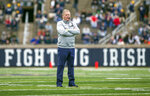 FILE - In this April 21, 2018, file photo, Notre Dame head coach Brian Kelly watches during the Notre Dame Blue-Gold Spring college football game in South Bend, Ind. Brian Kelly is The Associated Press college football Coach of the Year, Monday, Dec. 17, 2018, becoming the third coach to win the award twice since it was established in 1998. (Robert Franklin/South Bend Tribune via AP, File)