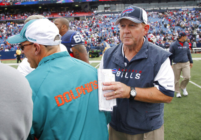 "FILE - In this Sept. 12, 2010, file photo, then-Buffalo Bills head coach Chan Gailey shakes hands with Miami Dolphins coach Tony Sparano after an NFL football game in Orchard Park, N.Y. Enjoying a life filled with golf and grandkids, Gailey was three years into a pretty typical retirement when it took a twist. Miami Dolphins coach Brian Flores called and offered Gailey a job as offensive coordinator. ""I was taken aback a little bit,"" Gailey said Saturday, Aug. 8, 2020, looking back on that transformative phone conversation seven months ago. (AP Photo/ Derek Gee, File)"