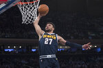 Denver Nuggets guard Jamal Murray goes to the basket during the first half of the team's NBA basketball game against the New York Knicks, Friday, March 22, 2019, at Madison Square Garden in New York. (AP Photo/Mary Altaffer)
