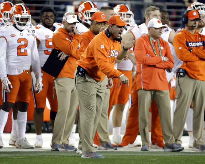Clemson head coach Dabo Swinney reacts during the second half of the NCAA college football playoff championship game against Alabama, Monday, Jan. 7, 2019, in Santa Clara, Calif. (AP Photo/Chris Carlson)