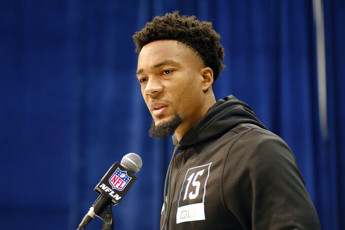 Florida defensive back C J Henderson speaks during a press conference at the NFL football scouting combine in Indianapolis, Friday, Feb. 28, 2020. (AP Photo/AJ Mast)