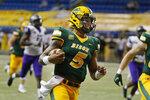 North Dakota State quarterback Trey Lance runs for a touchdown against Central Arkansas in the third quarter of an NCAA college football game Saturday, Oct. 3, 2020, in Fargo, N.D. North Dakota State won 39-28. (AP Photo/Bruce Kluckhohn)
