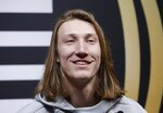 Clemson's Trevor Lawrence answers questions during media day for the NCAA college football playoff championship game Saturday, Jan. 5, 2019, in Santa Clara, Calif. (AP Photo/David J. Phillip)