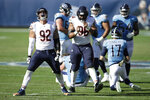 Chicago Bears defensive end Brent Urban (92) celebrates after bringing down Tennessee Titans quarterback Ryan Tannehill (17) in the first half of an NFL football game Sunday, Nov. 8, 2020, in Nashville, Tenn. (AP Photo/Ben Margot)