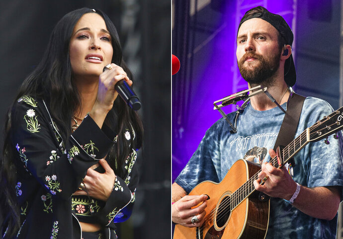 "Kacey Musgraves performs during the first weekend of the Austin City Limits Music Festival in Zilker Park on Oct. 6, 2019, in Austin, Texas, left, and Ruston Kelly performs at the Bonnaroo Music and Arts Festival on June 15, 2019, in Manchester, Tenn. Musgraves and Kelly have filed for divorce. In a joint statement, Musgraves and Kelly said ""we've made this painful decision together."