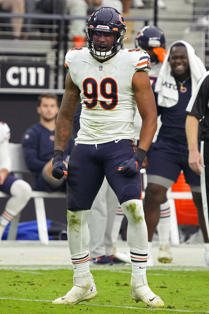 Chicago Bears linebacker Trevis Gipson (99) reacts after sacking Las Vegas Raiders quarterback Derek Carr (4) during the second half of an NFL football game, Sunday, Oct. 10, 2021, in Las Vegas. (AP Photo/Rick Scuteri)
