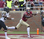 Florida State's Tamorrin Terry made this reception in the end zone but the play was annulled by a penalty in the second quarter of an NCAA college football game against Wake Forest, Saturday, Oct. 20, 2018 in Tallahassee, Fla. Florida State won 38-17. (AP Photo/Steve Cannon)