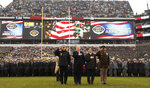 President Donald Trump stands for the Pledge of Allegiance before the start of the Army-Navy college football game in Philadelphia, Saturday, Dec. 14, 2019. (AP Photo/Jacquelyn Martin)