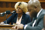 State Sen. Sarita Simmons, D-Cleveland, questions Tommy Taylor, interim commissioner of the Mississippi Department of Corrections, during a Senate Corrections Committee meeting Thursday, Feb. 13, 2020, at the Capitol in Jackson, Miss. (AP Photo/Rogelio V. Solis)