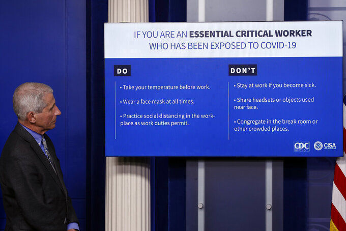 Dr. Anthony Fauci, director of the National Institute of Allergy and Infectious Diseases, looks at a chart as Dr. Robert Redfield, director of the Centers for Disease Control and Prevention, during a briefing about the coronavirus in the James Brady Press Briefing Room of the White House, Wednesday, April 8, 2020, in Washington. (AP Photo/Alex Brandon)