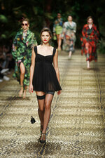 Models wear creations as part of the Dolce & Gabbana Spring-Summer 2020 collection, unveiled during the fashion week, in Milan, Italy, Sunday, Sept. 22, 2019. (AP Photo/Antonio Calanni)
