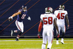 Chicago Bears tight end Jimmy Graham (80) celebrates a touchdown against the Tampa Bay Buccaneers during the first half of an NFL football game in Chicago, Thursday, Oct. 8, 2020. (AP Photo/Charles Rex Arbogast)