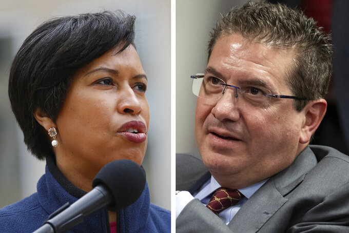"FILE - These are 2020 file photos showing District of Columbia Mayor Muriel Bowser, left, and Washington Redskins NFL football team owner Dan Snyder, right. The recent national conversation about racism has renewed calls for the Washington Redskins to change their name. D.C. mayor Muriel Bowser called the name an ""obstacle"" to the team building its stadium and headquarters in the District, but owner Dan Snyder over the years has shown no indications he'd consider it. (AP Photo/File)"