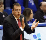 Stanford head coach Jerod Haase applauds his team during the first half of an NCAA college basketball game against Kansas in Lawrence, Kan., Saturday, Dec. 1, 2018. (AP Photo/Orlin Wagner)