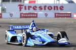 FILE - In this Sunday, March 10, 2019, file photo, Chip Ganassi Racing driver Felix Rosenqvist (10), of Sweden, drives through turn two during the warm up for the IndyCar Firestone Grand Prix of St. Petersburg auto race in St. Petersburg, Fla. After a strong IndyCar debut on Sunday, the Swede validated all the buzz around Ganassi's newest hire. (AP Photo/Jason Behnken, File)