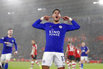 Leicester's Ayoze Perez celebrates scoring his side's third goal during the English Premier League soccer match between Southampton and Leicester City at St Mary's stadium in Southampton, England Friday, Oct., 25, 2019. (AP Photo/Alastair Grant)