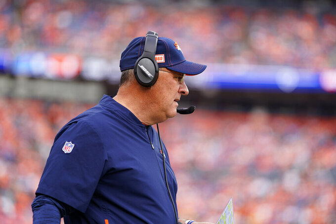 Denver Broncos head coach Vic Fangio watches during the first half of an NFL football game against the Detroit Lions, Sunday, Dec. 22, 2019, in Denver. (AP Photo/Jack Dempsey)
