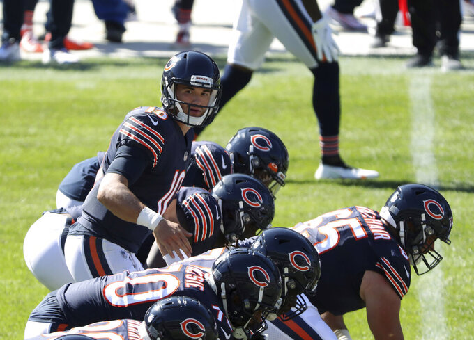 Chicago Bears quarterback Mitch Trubisky (10) calls out a play in the fourth quarter of an NFL football game against the New York Giants, Sunday, Sept. 20, 2020, in Chicago. (John J. Kim/Chicago Tribune via AP)