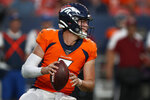 Denver Broncos quarterback Drew Lock (3) looks to pass against the San Francisco 49ers during the second half of an NFL preseason football game, Monday, Aug. 19, 2019, in Denver. (AP Photo/David Zalubowski)