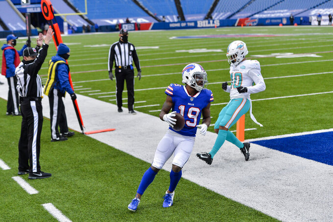 Buffalo Bills wide receiver Isaiah McKenzie (19) scores a touchdown in an empty stadium in the first half of an NFL football game against the Miami Dolphins, Sunday, Jan. 3, 2021, in Orchard Park, N.Y. (AP Photo/Adrian Kraus )