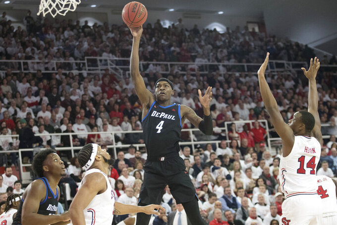 DePaul forward Paul Reed (4) shoots in the first half of an NCAA college basketball game against St. John's, Saturday, Jan. 12, 2019, in New York. (AP Photo/Mary Altaffer)