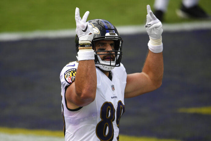 Baltimore Ravens tight end Mark Andrews (89) celebrates his second touchdown of the game, during the first half of an NFL football game against the Cleveland Browns, Sunday, Sept. 13, 2020, in Baltimore, MD. (AP Photo/Nick Wass)