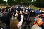 Captain Nick Hurley of the Corvallis Police Department speaks with the media Thursday, July 18, 2019 after a male suspect was taken into custody following reports of an active shooter at the Foster Farms plant in Corvallis.  (Andy Cripe/The Corvallis Gazette-Times via AP)