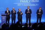 """(Left to right) Czech Republic's Prime Minister Andrej Babis, Slovenian Prime Minister Janez Jansa, Hungary's Prime Minister Viktor Orban,Serbian President Aleksandar Vucic and Bosnian Serb member of the tripartite Presidency of Bosnia Milorad Dodik stand on stage during the 4th Budapest Demographic Summit in Budapest, Hungary, Thursday, Sept. 23, 2021. The biannual demographic summit, which was first organized in 2015, offers a forum for """"pro-family thinker"""" decision-makers, scientists, researchers, and church representatives of the same sort to exchange their thoughts about connections between demographics and sustainability. (AP Photo/Laszlo Balogh)"""