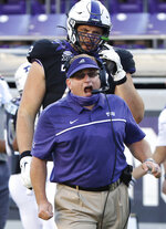 TCU head coach Gary Patterson works the sidelines against Texas Tech during the first half of an NCAA college football game Saturday, Nov. 7, 2020, in Fort Worth, Texas. (AP Photo/Ron Jenkins)