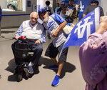 Hall of Fame and former Los Angeles Dodgers manager Tommy Lasorda passed away at the age of 93. 91 year-old Hall of Fame and former Los Angeles Dodgers manager Tommy Lasorda, left, poses for pictures outside of the Vin Scully Press Box prior to a MLB baseball game between the Los Angeles Dodgers and the San Francisco Giants at Dodger Stadium on Thursday, June 20, 2019 in Los Angeles, California. (Keith Birmingham/The Orange County Register via AP)