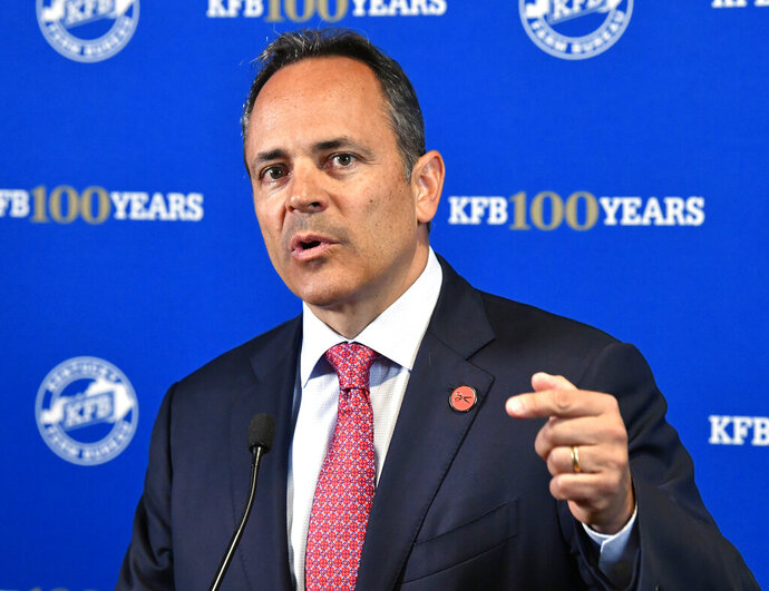 FILE - In this July 17, 2019 file photo, Kentucky Governor Matt Bevin speaks to the media following the Kentucky Farm Bureau candidates forum at the Kentucky Farm Bureau headquarters in Louisville, Ky. Kentucky's Republican governor has run into turbulence over his use of taxpayer-owned aircraft, creating another distraction for a reelection campaign already dogged by his feuds with teachers, struggles with pension issues and a legal fight with his lieutenant governor. Bevin tried to defuse the air travel controversy late Thursday, Sept. 19 when his office released a log disclosing the purposes for his official trips on state-owned aircraft.  (AP Photo/Timothy D. Easley, File)