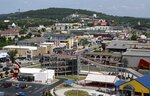 Branson, Mo., is seen from this view atop the Branson Ferris Wheel, located along Highway 76 at The Track Family Fun Park. (Nathan Papes/The Springfield News-Leader via AP)