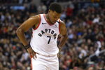 Toronto Raptors' Kyle Lowry reacts during his team's 104-105 loss to San Antonio Spurs in an NBA basketball game in Toronto on Sunday, Jan. 12, 2020. (Chris Young/The Canadian Press via AP)