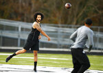 Free agent quarterback Colin Kaepernick participates in a workout for NFL football scouts and media, Saturday, Nov. 16, 2019, in Riverdale, Ga. (AP Photo/Todd Kirkland)