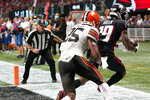 Atlanta Falcons wide receiver Juwan Green (19) scores a touchdown against Cleveland Browns cornerback Brian Allen (25) during the second half of a preseason NFL football game, Sunday, Aug. 29, 2021, in Atlanta. (AP Photo/Brynn Anderson)