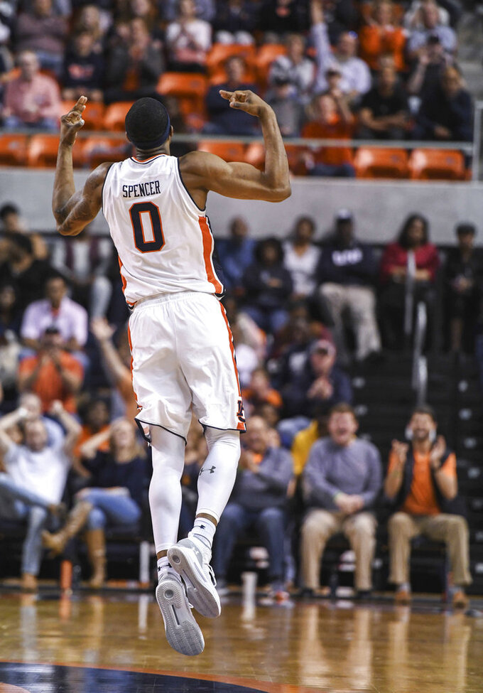 Auburn forward Horace Spencer (0) celebrates a three-point basket against North Florida during the second half of an NCAA college basketball game Saturday, Dec. 29, 2018, in Auburn, Ala. (AP Photo/Julie Bennett)