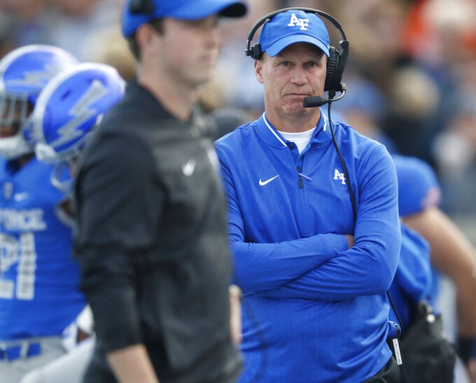 Air Force head coach Troy Calhoun looks on in the first half of an NCAA college football game against Boise State, Saturday, Oct. 27, 2018, at Air Force Academy, Colo. (AP Photo/David Zalubowski)