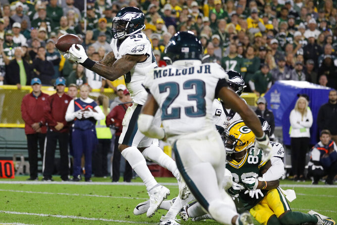 Philadelphia Eagles outside linebacker Nigel Bradham (53) intercepts a pass in the final minute of the team's 34-27 win over the Green Bay Packers in an NFL football game Thursday, Sept. 26, 2019, in Green Bay, Wis. (AP Photo/Jeffrey Phelps)