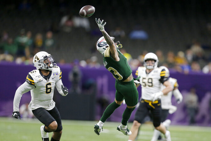 UAB wide receiver Markus Grossman (13) misses a catch during the first half of the New Orleans Bowl NCAA college football game against Appalachian State in New Orleans, Saturday, Dec. 21, 2019. (AP Photo/Brett Duke)