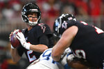 Atlanta Falcons quarterback Matt Ryan (2) works in the pocket against the Tennessee Titans during the first half of an NFL football game, Sunday, Sept. 29, 2019, in Atlanta. (AP Photo/John Amis)