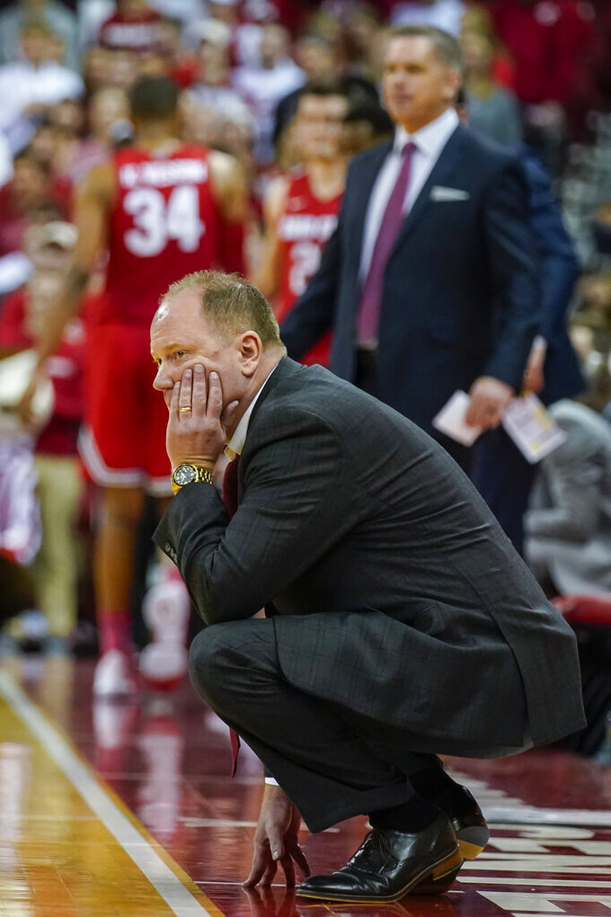 Wisconsin head coach Greg Gard watches the second half of an NCAA college basketball game against Ohio State, Sunday, Feb. 9, 2020, in Madison, Wis. (AP Photo/Andy Manis)