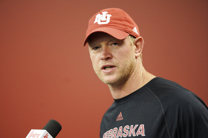Nebraska NCAA college football head coach Scott Frost speaks during a news conference in Lincoln, Neb., Monday, Aug. 26, 2019. No. 24 Nebraska is in the preseason Top 25 for the first time since 2014, and a big reason for the positive vibe is Adrian Martinez, who last season was the most productive freshman quarterback in the nation. (AP Photo/Nati Harnik)