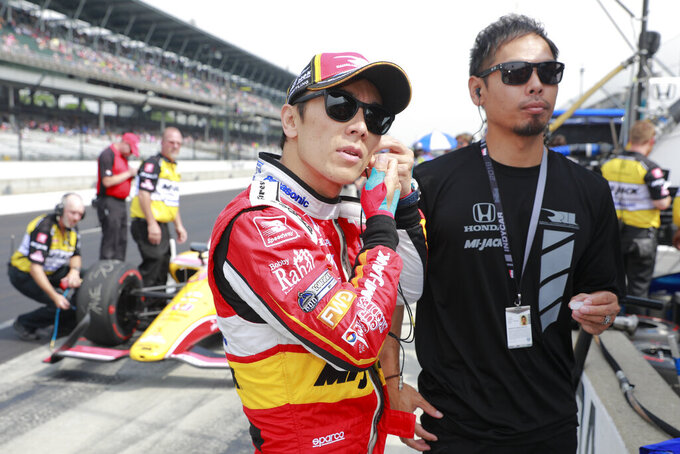 Takuma Sato, of Japan, prepares to drive during the final practice session for the Indianapolis 500 IndyCar auto race at Indianapolis Motor Speedway, Friday, May 24, 2019, in Indianapolis. (AP Photo/R Brent Smith)