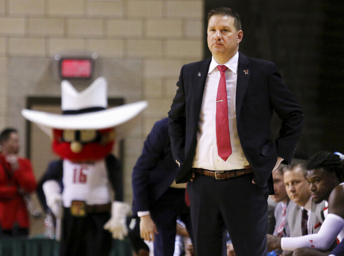 Texas Tech coach Chris Beard watches as his team during an NCAA college basketball game against Houston Baptist on Wednesday, Nov. 13, 2019, in Midland, Texas. (Ben Powell/Odessa American via AP)