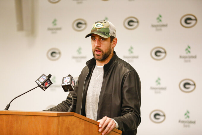 Green Bay Packers quarterback Aaron Rodgers speaks during a news conference following an NFL football game against the Detroit Lions, Monday, Oct. 14, 2019, in Green Bay, Wis. Green Bay won 23-22. (AP Photo/Mike Roemer)