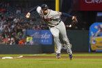 Atlanta Braves third baseman Austin Riley throws out San Francisco Giants' Mike Yastrzemski at first base during the fourth inning of a baseball game in San Francisco, Saturday, Sept. 18, 2021. (AP Photo/Jeff Chiu)
